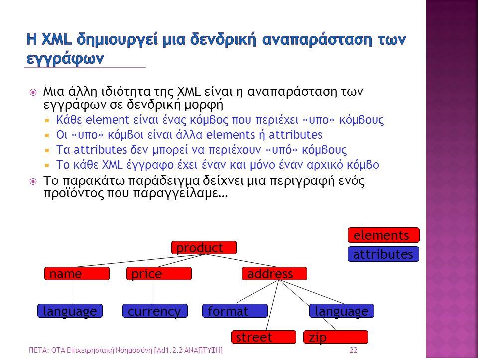 elements attributes  Μια άλλη ιδιότητα της XML είναι η αναπαράσταση των εγγράφων σε δενδρική μορφή  Κάθε element είναι ένας κόμβος που περιέχει «υπο» κόμβους  Οι «υπο» κόμβοι είναι άλλα elements ή attributes  Τα attributes δεν μπορεί να περιέχουν «υπό» κόμβους  Το κάθε XML έγγραφο έχει έναν και μόνο έναν αρχικό κόμβο  Το παρακάτω παράδειγμα δείχνει μια περιγραφή ενός προϊόντος που παραγγείλαμε… product pricename languagecurrency streetzip formatlanguage address 22 ΠΕΤΑ: ΟΤΑ Επιχειρησιακή Νοημοσύνη [Ad1.2.2 ΑΝΑΠΤΥΞΗ]