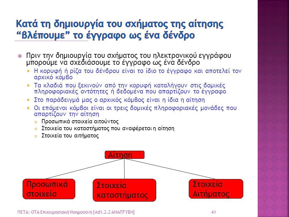  Πριν την δημιουργία του σχήματος του ηλεκτρονικού εγγράφου μπορούμε να σχεδιάσουμε το έγγραφο ως ένα δένδρο  Η κορυφή ή ρίζα του δένδρου είναι το ίδιο το έγγραφο και αποτελεί τον αρχικό κόμβο  Τα κλαδιά που ξεκινούν από την κορυφή καταλήγουν στις δομικές πληροφοριακές οντότητες ή δεδομένα που απαρτίζουν το έγγραφο  Στο παράδειγμά μας ο αρχικός κόμβος είναι η ίδια η αίτηση  Οι επόμενοι κόμβοι είναι οι τρεις δομικές πληροφοριακές μονάδες που απαρτίζουν την αίτηση Προσωπικά στοιχεία αιτούντος Στοιχεία του καταστήματος που αναφέρεται η αίτηση Στοιχεία του αιτήματος 41 ΠΕΤΑ: ΟΤΑ Επιχειρησιακή Νοημοσύνη [Ad1.2.2 ΑΝΑΠΤΥΞΗ] Αίτηση Στοιχεία καταστήματος Προσωπικά στοιχεία Στοιχεία Αιτήματος
