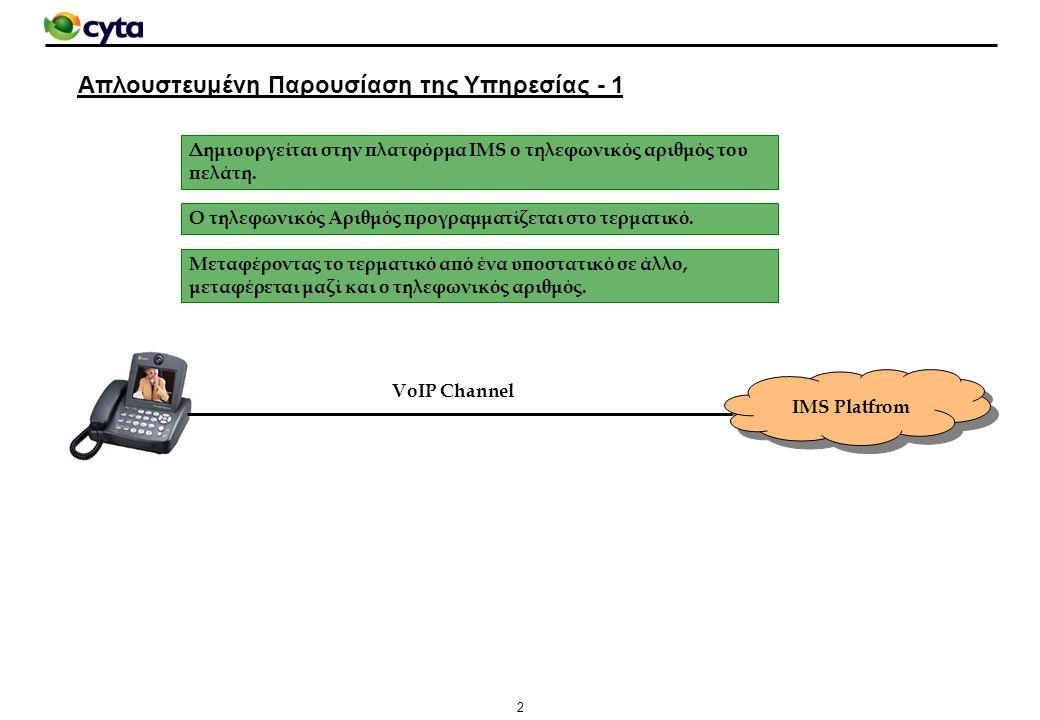 13 Αυτόματη Παροχή - Σύνοψη IMS Network IAD DSLAM IP Network Management VC (8.40 στη Cyta) VoIP (IMS) VLAN (ένα για κάθε DSLAM) VC to VLAN Association Τηλεφωνικό Καλώδιο CPE Management VoIP VC (8.41 στη Cyta) Management (CPEMS) VLAN (ένα για κάθε DSLAM) VoIP: 22555888 Registration Request Relay Tag και OP Number