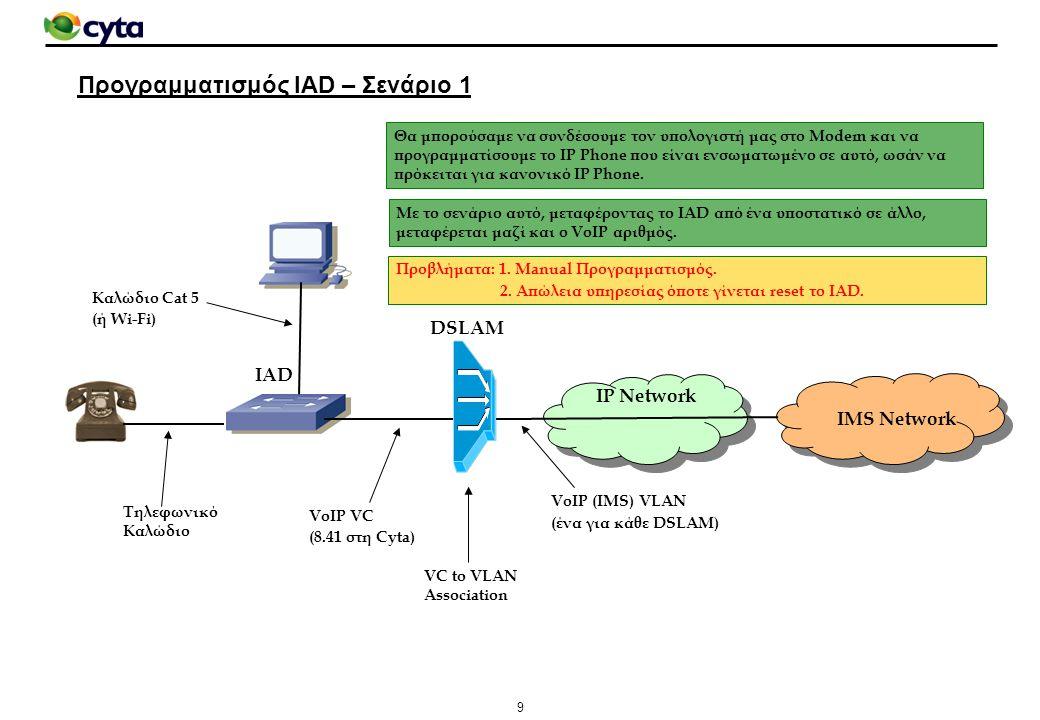 10 Προγραμματισμός IAD – Σενάριο 2 IMS Network IAD DSLAM IP Network Management VC (8.40 στη Cyta) VoIP (IMS) VLAN (ένα για κάθε DSLAM) VC to VLAN Association Τηλεφωνικό Καλώδιο Όπως το σενάριο 1, αλλά η σύνδεση υπολογιστή – IAD γίνεται μέσω του δικτύου CPE Management (Χρησιμοποιήθηκε στη Cyta στα αρχικά στάδια παροχής της υπηρεσίας).