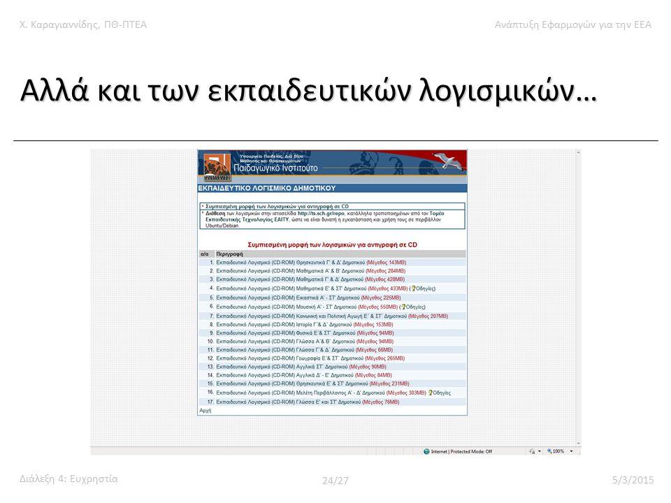 Χ. Καραγιαννίδης, ΠΘ-ΠΤΕΑΑνάπτυξη Εφαρμογών για την ΕΕΑ Διάλεξη 4: Ευχρηστία 24/27 5/3/2015 Αλλά και των εκπαιδευτικών λογισμικών…