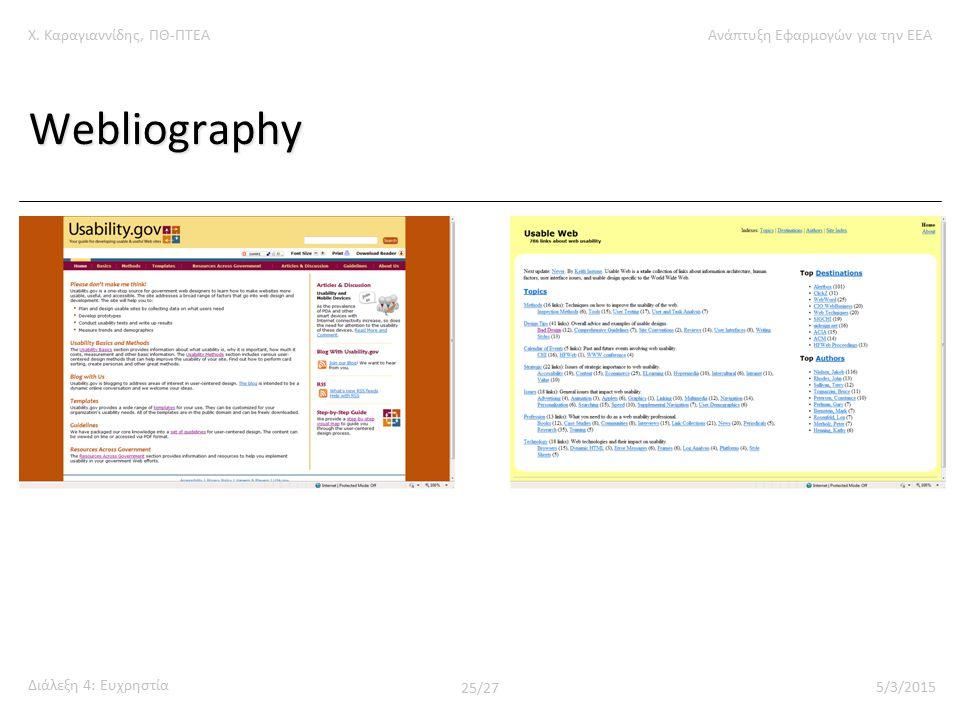 Χ. Καραγιαννίδης, ΠΘ-ΠΤΕΑΑνάπτυξη Εφαρμογών για την ΕΕΑ Διάλεξη 4: Ευχρηστία 25/27 5/3/2015 Webliography