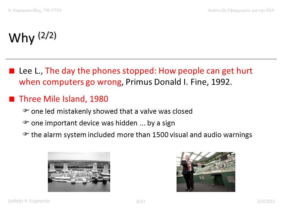 Χ. Καραγιαννίδης, ΠΘ-ΠΤΕΑΑνάπτυξη Εφαρμογών για την ΕΕΑ Διάλεξη 4: Ευχρηστία 8/27 5/3/2015 Why (2/2) Lee L., The day the phones stopped: How people ca