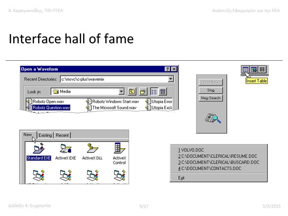 Χ. Καραγιαννίδης, ΠΘ-ΠΤΕΑΑνάπτυξη Εφαρμογών για την ΕΕΑ Διάλεξη 4: Ευχρηστία 9/27 5/3/2015 Interface hall of fame