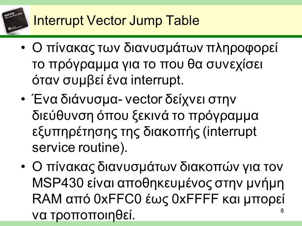 Interrupt Vector Jump Table Ο πίνακας των διανυσμάτων πληροφορεί το πρόγραμμα για το που θα συνεχίσει όταν συμβεί ένα interrupt. Ένα διάνυσμα- vector