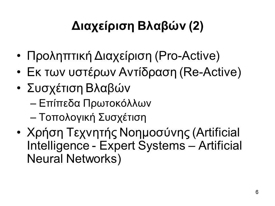 7 Διαχείριση Διάρθρωσης (Configuration Management) Απεικόνιση Δικτύου (Γραφικά, Φιλική προς τον Χρήστη - Διαχειριστή) Βάση Δεδομένων Διάρθρωσης, Σχεσιακή; (Configuration Data Base) Παρακολούθηση Εξέλιξης – Αλλαγών Τοπολογίας (Change Management)
