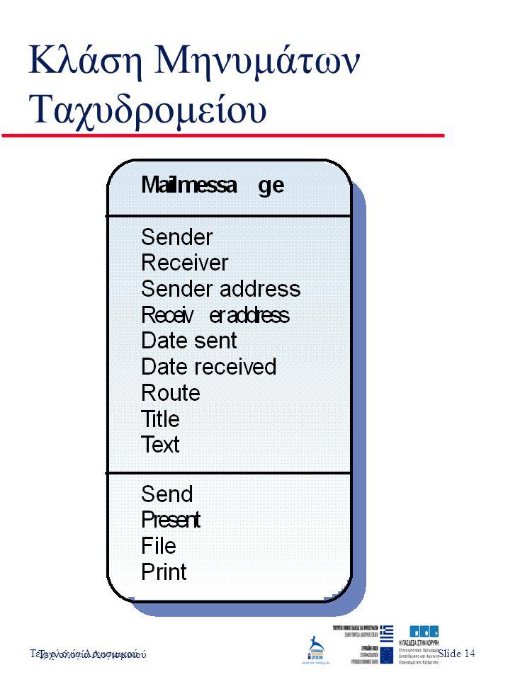 Τεχνολογία ΛογισμικούSlide 1 Κλάση Μηνυμάτων Ταχυδρομείου Τεχνολογία Λογισμικού Slide 14
