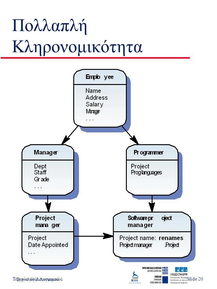 Τεχνολογία ΛογισμικούSlide 3 Πολλαπλή Κληρονομικότητα Τεχνολογία Λογισμικού Slide 20
