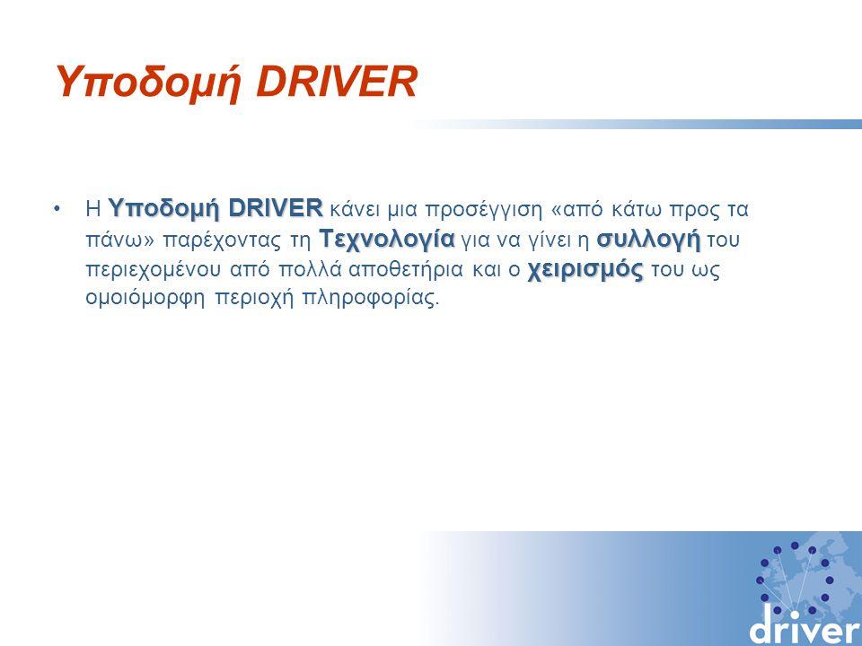 Υποδομή DRIVER Υποδομή DRIVER Τεχνολογίασυλλογή χειρισμόςΗ Υποδομή DRIVER κάνει μια προσέγγιση «από κάτω προς τα πάνω» παρέχοντας τη Τεχνολογία για να γίνει η συλλογή του περιεχομένου από πολλά αποθετήρια και ο χειρισμός του ως ομοιόμορφη περιοχή πληροφορίας.