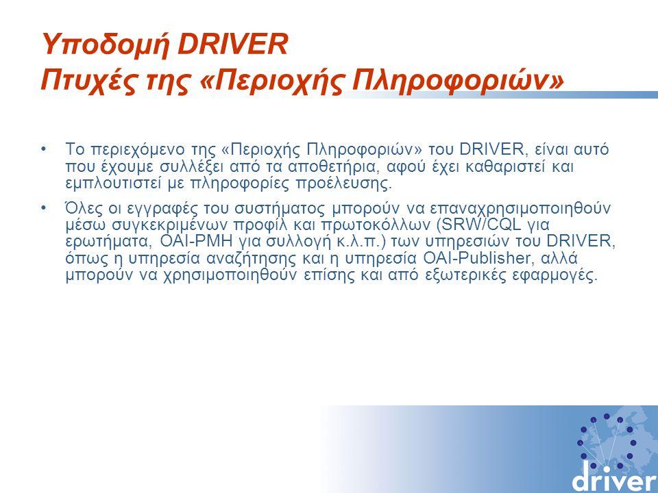 Υποδομή DRIVER Πτυχές της «Περιοχής Πληροφοριών» Το περιεχόμενο της «Περιοχής Πληροφοριών» του DRIVER, είναι αυτό που έχουμε συλλέξει από τα αποθετήρια, αφού έχει καθαριστεί και εμπλουτιστεί με πληροφορίες προέλευσης.