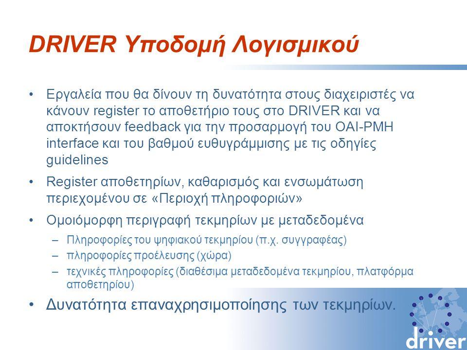 DRIVER Υποδομή Λογισμικού Εργαλεία που θα δίνουν τη δυνατότητα στους διαχειριστές να κάνουν register το αποθετήριο τους στο DRIVER και να αποκτήσουν feedback για την προσαρμογή του OAI-PMH interface και του βαθμού ευθυγράμμισης με τις οδηγίες guidelines Register αποθετηρίων, καθαρισμός και ενσωμάτωση περιεχομένου σε «Περιοχή πληροφοριών» Ομοιόμορφη περιγραφή τεκμηρίων με μεταδεδομένα –Πληροφορίες του ψηφιακού τεκμηρίου (π.χ.