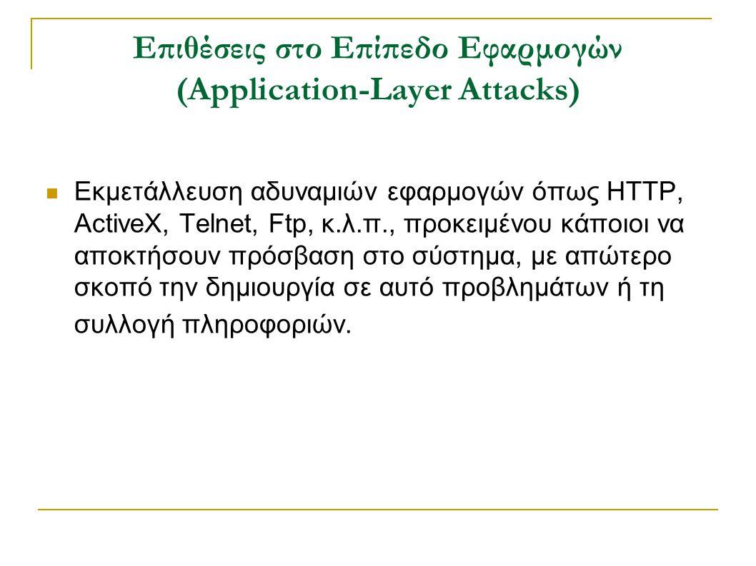 Επιθέσεις στο Επίπεδο Εφαρμογών (Application-Layer Attacks) Εκμετάλλευση αδυναμιών εφαρμογών όπως HTTP, ActiveX, Telnet, Ftp, κ.λ.π., προκειμένου κάποιοι να αποκτήσουν πρόσβαση στο σύστημα, με απώτερο σκοπό την δημιουργία σε αυτό προβλημάτων ή τη συλλογή πληροφοριών.
