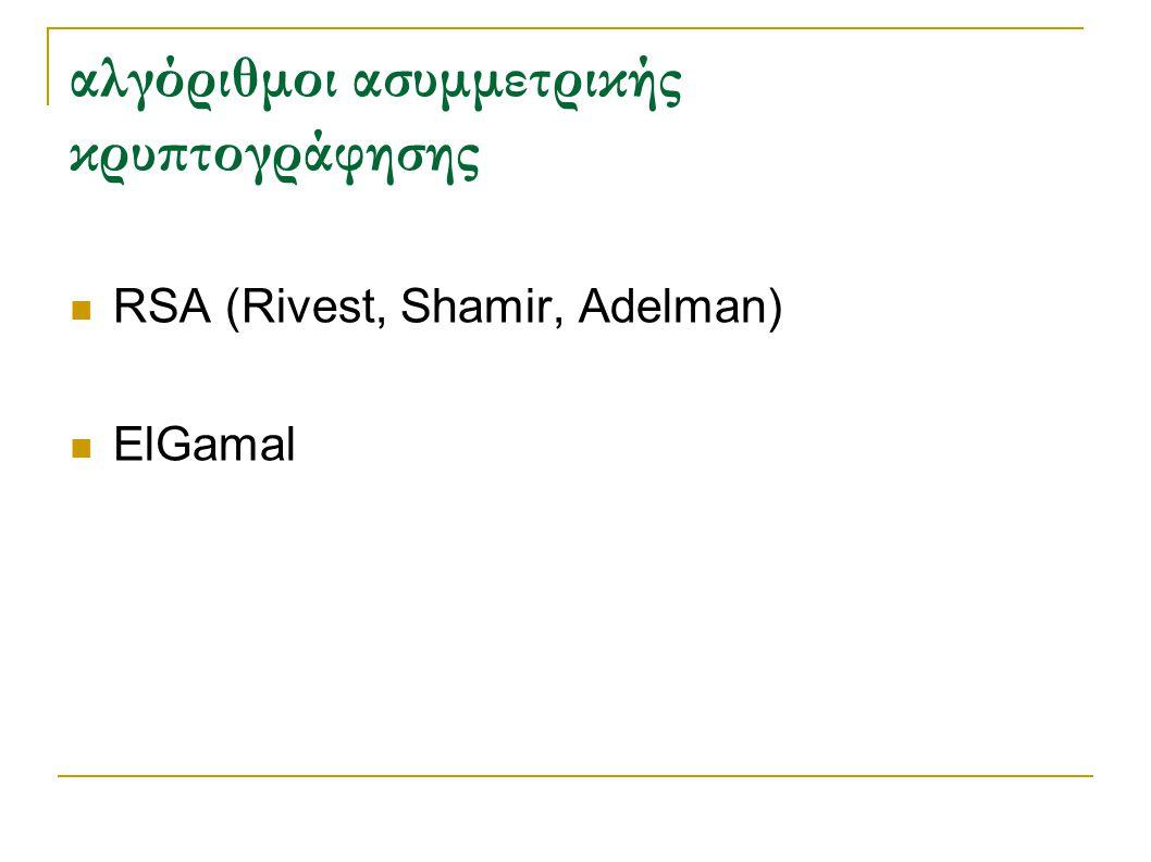 αλγόριθμοι ασυμμετρικής κρυπτογράφησης RSA (Rivest, Shamir, Adelman) ElGamal
