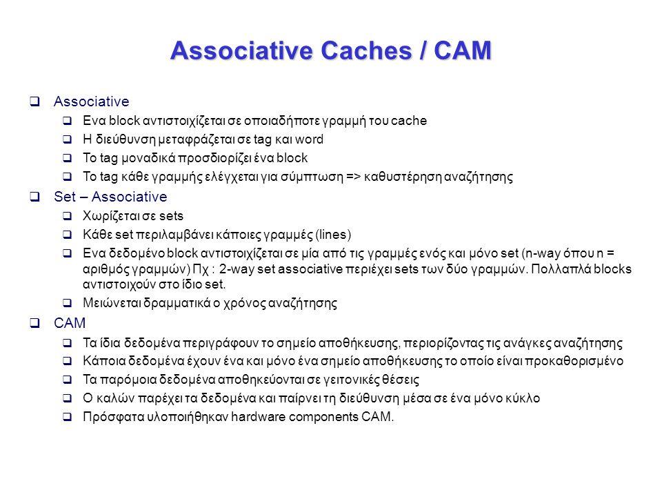 Associative Caches / CAM  Associative  Ενα block αντιστοιχίζεται σε οποιαδήποτε γραμμή του cache  Η διεύθυνση μεταφράζεται σε tag και word  Το tag