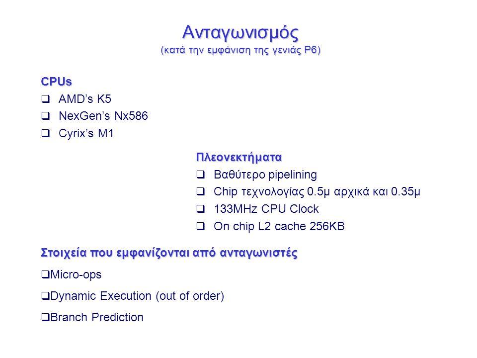 Ανταγωνισμός (κατά την εμφάνιση της γενιάς P6) CPUs  AMD's K5  NexGen's Nx586  Cyrix's M1 Πλεονεκτήματα  Βαθύτερο pipelining  Chip τεχνολογίας 0.