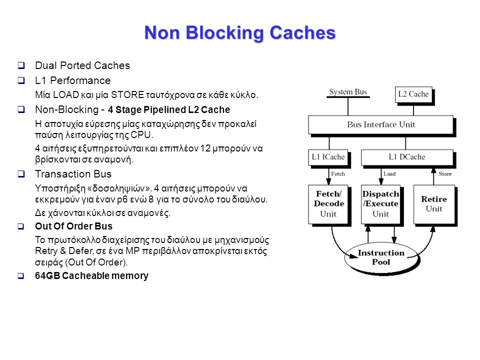 Non Blocking Caches  Dual Ported Caches  L1 Performance Μία LOAD και μία STORE ταυτόχρονα σε κάθε κύκλο.  Non-Blocking - 4 Stage Pipelined L2 Cache