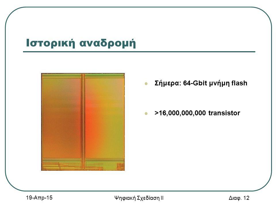 19-Απρ-15 Ψηφιακή Σχεδίαση ΙΙ Διαφ. 12 Ιστορική αναδρομή Σήμερα: 64-Gbit μνήμη flash >16,000,000,000 transistor