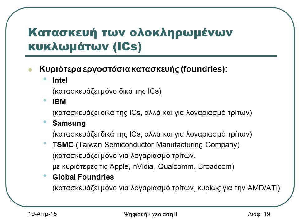 19-Απρ-15 Ψηφιακή Σχεδίαση ΙΙ Διαφ. 19 Κατασκευή των ολοκληρωμένων κυκλωμάτων (ICs) Κυριότερα εργοστάσια κατασκευής (foundries): Intel (κατασκευάζει μ