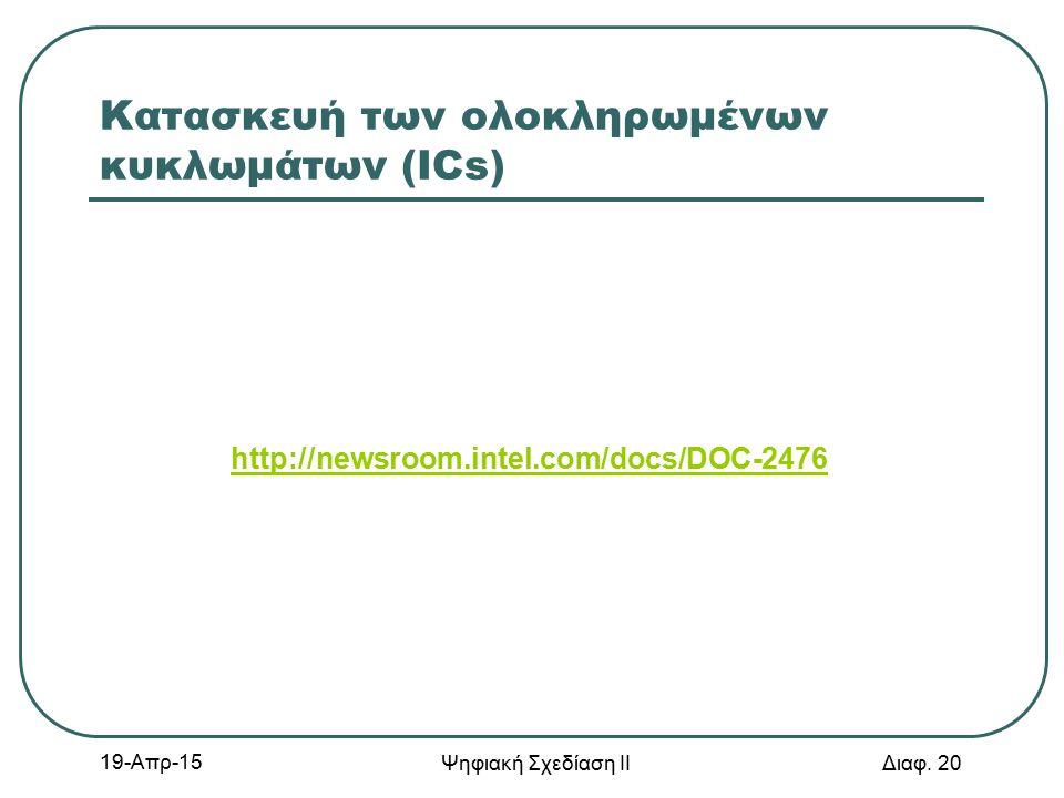 Κατασκευή των ολοκληρωμένων κυκλωμάτων (ICs) http://newsroom.intel.com/docs/DOC-2476 19-Απρ-15 Ψηφιακή Σχεδίαση ΙΙ Διαφ. 20