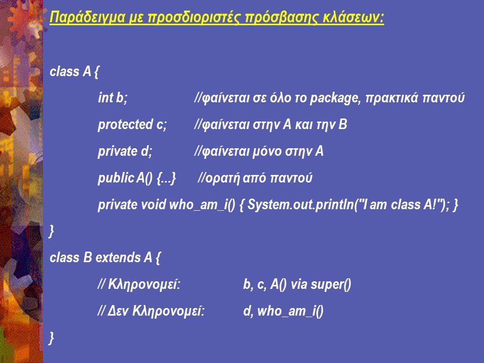 Παράδειγμα με προσδιοριστές πρόσβασης κλάσεων: class A { int b; //φαίνεται σε όλο το package, πρακτικά παντού protected c; //φαίνεται στην Α και την Β private d; //φαίνεται μόνο στην Α public A() {...} //ορατή από παντού private void who_am_i() { System.out.println( I am class A! ); } } class B extends A { // Κληρονομεί: b, c, A() via super() // Δεν Κληρονομεί: d, who_am_i() }