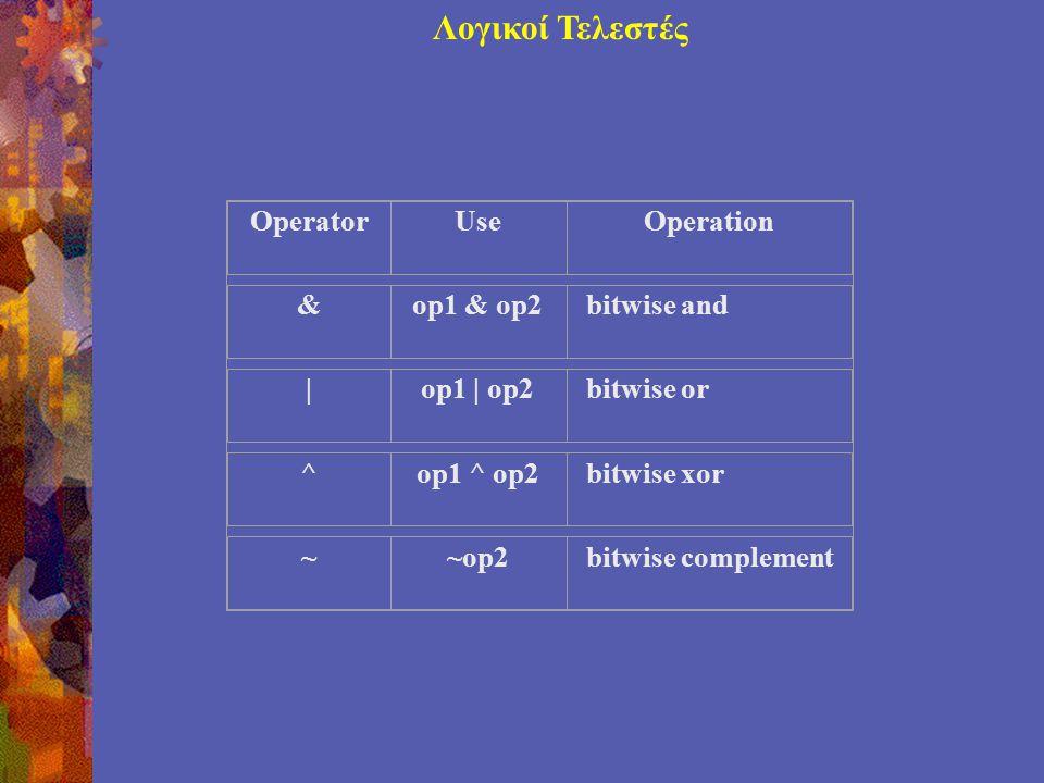 Λογικοί Τελεστές OperatorUseOperation &op1 & op2bitwise and |op1 | op2bitwise or ^op1 ^ op2bitwise xor ~~op2bitwise complement