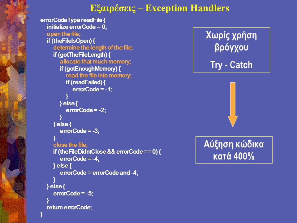 Εξαιρέσεις – Exception Handlers errorCodeType readFile { initialize errorCode = 0; open the file; if (theFileIsOpen) { determine the length of the file; if (gotTheFileLength) { allocate that much memory; if (gotEnoughMemory) { read the file into memory; if (readFailed) { errorCode = -1; } } else { errorCode = -2; } } else { errorCode = -3; } close the file; if (theFileDidntClose && errorCode == 0) { errorCode = -4; } else { errorCode = errorCode and -4; } } else { errorCode = -5; } return errorCode; } Αύξηση κώδικα κατά 400% Χωρίς χρήση βρόγχου Try - Catch