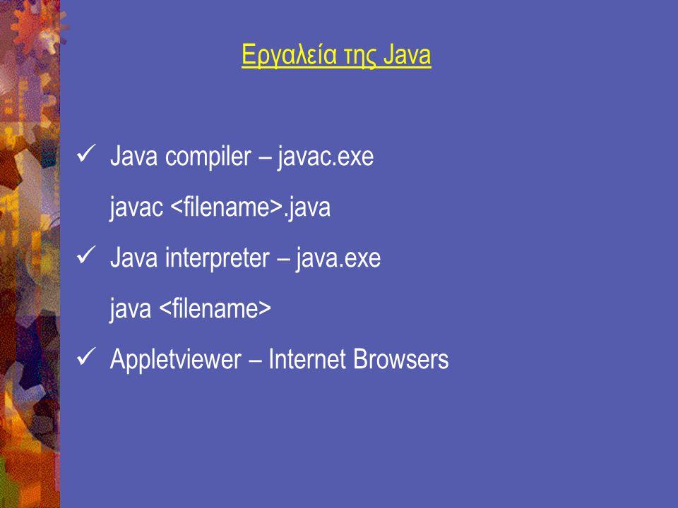 Γραμματοσειρές Για να χρησιμοποιηθούν μέθοδοι των γραμματοσειρών της κλάσης Fonts πρέπει ο κώδικάς της να περιληφθεί στην αρχή του κώδικα της Applet εφαρμογής δηλώνοντας: import java.awt.Fonts Κατασκευαστής της κλάσης Fonts Font fb = new Font( TimesRoman , Font.BOLD, 24) Font af = new Font( Arial , Font.BOLD, 20) Font fbi = new Font( TimesRoman , Font.BOLD+ Font.ITALIC, 18) Για την σχεδίαση γραμματοσειράς στην οθόνη χρησιμοποιείται η μέθοδος: setFont(fontObject);