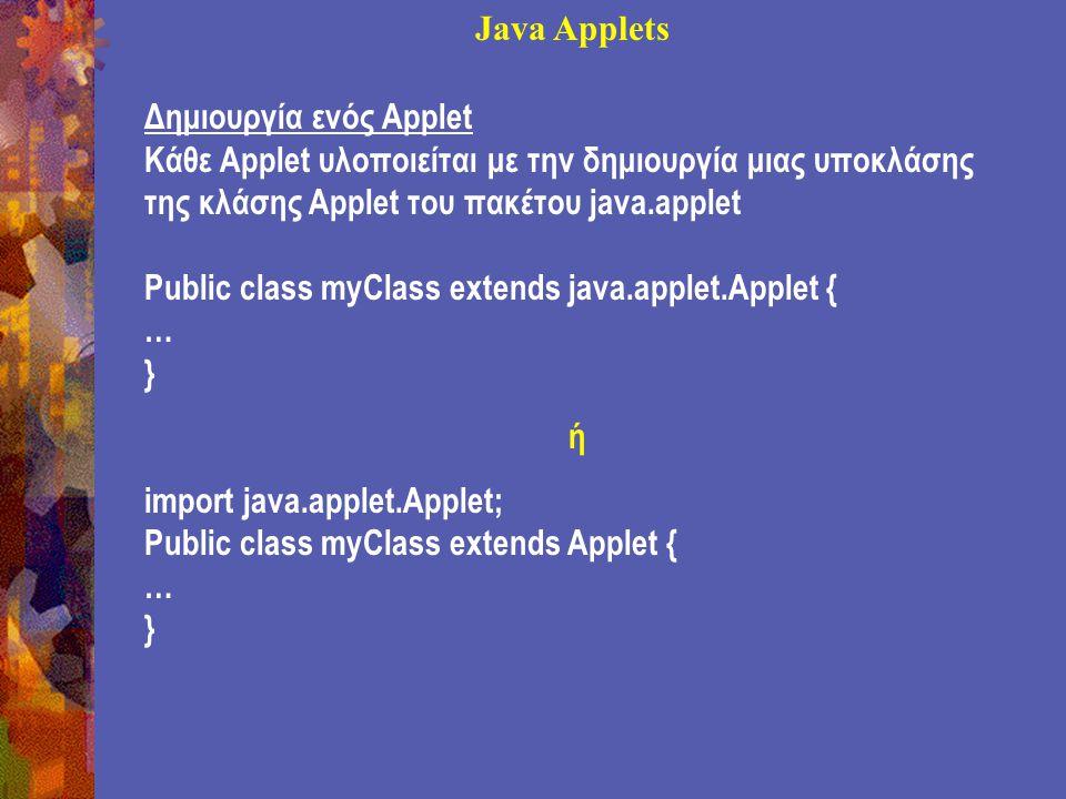 Java Applets Δημιουργία ενός Applet Κάθε Applet υλοποιείται με την δημιουργία μιας υποκλάσης της κλάσης Applet του πακέτου java.applet Public class myClass extends java.applet.Applet { … } ή import java.applet.Applet; Public class myClass extends Applet { … }