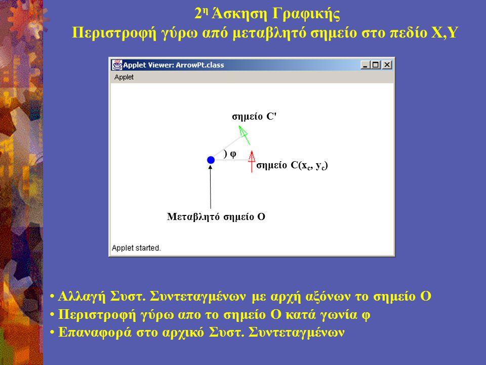 2 η Άσκηση Γραφικής Περιστροφή γύρω από μεταβλητό σημείο στο πεδίο Χ,Υ Μεταβλητό σημείο O σημείο C(x c, y c ) σημείο C Αλλαγή Συστ.