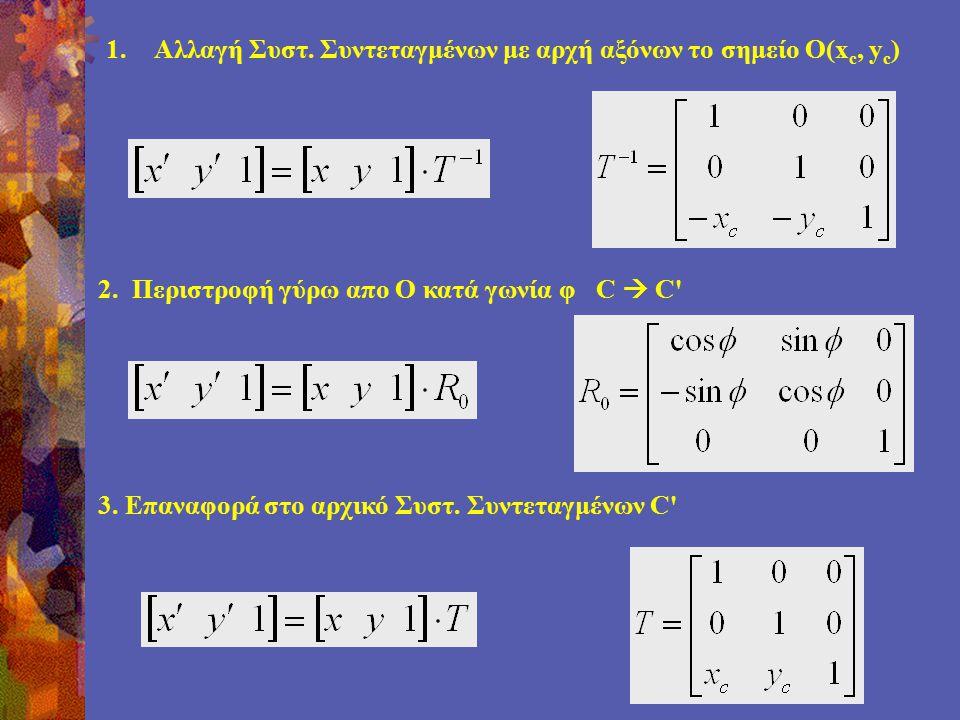 1.Αλλαγή Συστ. Συντεταγμένων με αρχή αξόνων το σημείο Ο(x c, y c ) 2.