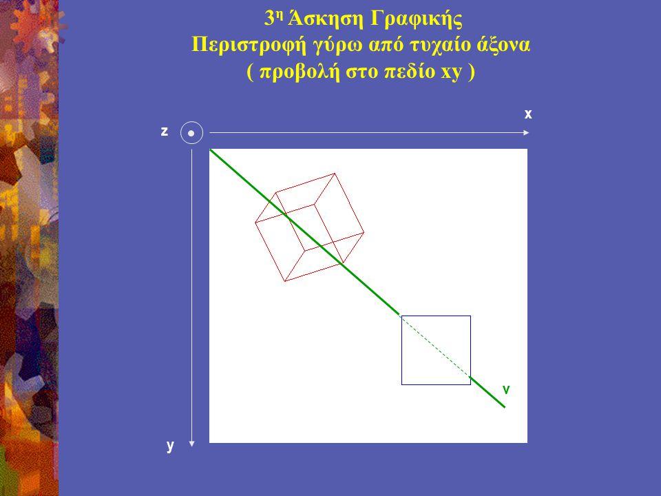 z y v x 3 η Άσκηση Γραφικής Περιστροφή γύρω από τυχαίο άξονα ( προβολή στο πεδίο xy )