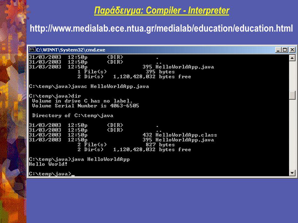 Example: Java Applet http://www.medialab.ece.ntua.gr/medialab/education/education.html import java.applet.Applet; import java.awt.Graphics; public class HelloWorld extends Applet { public void paint(Graphics g) { g.drawString( Hello world! , 50, 25); } HelloWorld.java C:\temp\java Εφαρμογή του javac.exe