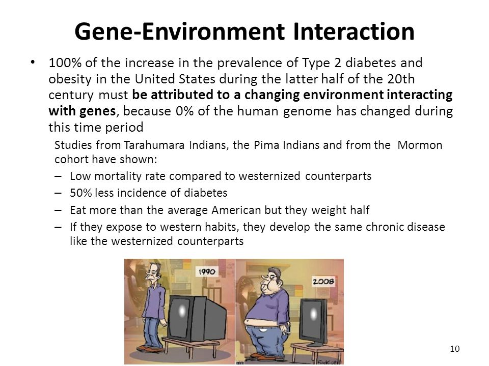 Gene-Environment Interaction 100% of the increase in the prevalence of Type 2 diabetes and obesity in the United States during the latter half of the 20th century must be attributed to a changing environment interacting with genes, because 0% of the human genome has changed during this time period Studies from Tarahumara Indians, the Pima Indians and from the Mormon cohort have shown: – Low mortality rate compared to westernized counterparts – 50% less incidence of diabetes – Eat more than the average American but they weight half – If they expose to western habits, they develop the same chronic disease like the westernized counterparts 10