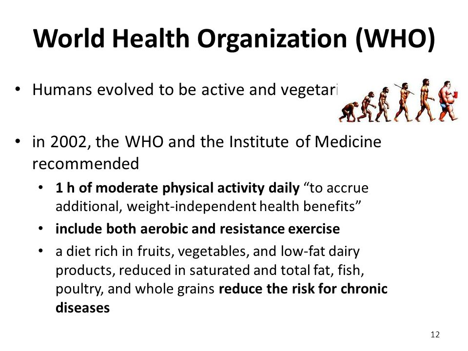 Humans evolved to be active and vegetarians in 2002, the WHO and the Institute of Medicine recommended 1 h of moderate physical activity daily to accrue additional, weight-independent health benefits include both aerobic and resistance exercise a diet rich in fruits, vegetables, and low-fat dairy products, reduced in saturated and total fat, fish, poultry, and whole grains reduce the risk for chronic diseases 12 World Health Organization (WHO)