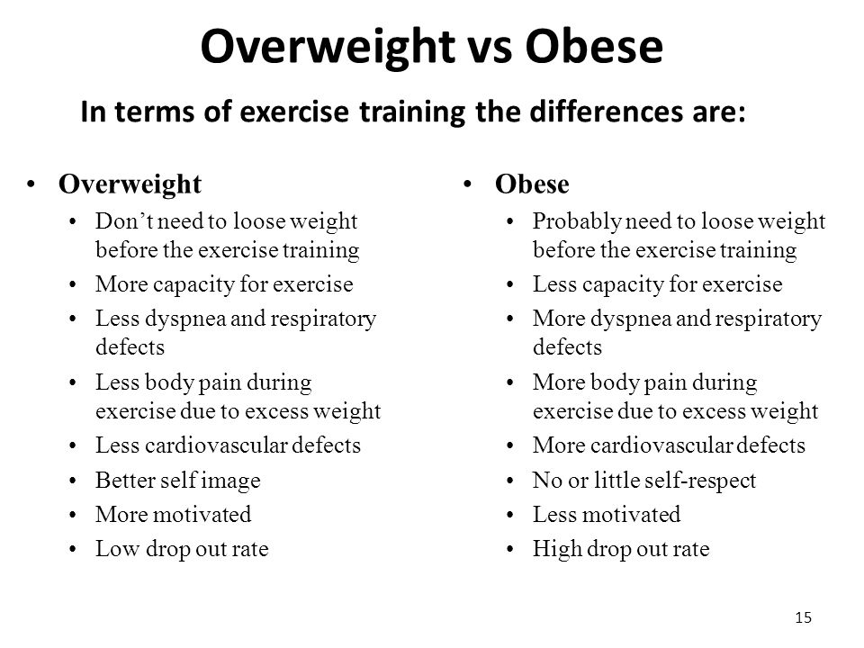 Overweight vs Obese 15 In terms of exercise training the differences are: Overweight Don't need to loose weight before the exercise training More capacity for exercise Less dyspnea and respiratory defects Less body pain during exercise due to excess weight Less cardiovascular defects Better self image More motivated Low drop out rate Obese Probably need to loose weight before the exercise training Less capacity for exercise More dyspnea and respiratory defects More body pain during exercise due to excess weight More cardiovascular defects No or little self-respect Less motivated High drop out rate