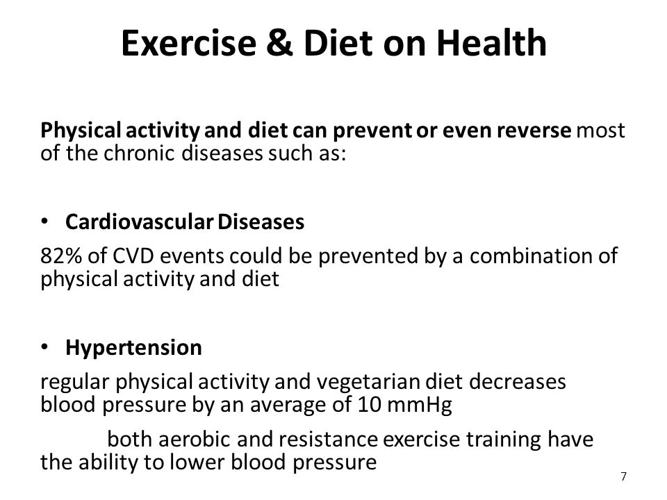 Exercise & Diet on Health Diabetes Mellitus 2 – physical inactivity and poor diet explain the 91% of type II diabetes – 500 kcal/wk of physical activity was associated with a decrease in risk of 6% Metabolic Syndrome (insulin resistance- hyperinsulinemia-hypertension-hypertriglyceridemia- visceral obesity) – If you exercise less than 1 hour/wk you have 4.26-fold risk of death over an 11-yr – 3 times/wk exercise and diet rich in fish and vegetables corrects the 30% of the MetaS Cancer – Exercise and quality diet offers antioxidant effect and protects our body from various types of Cancer 8