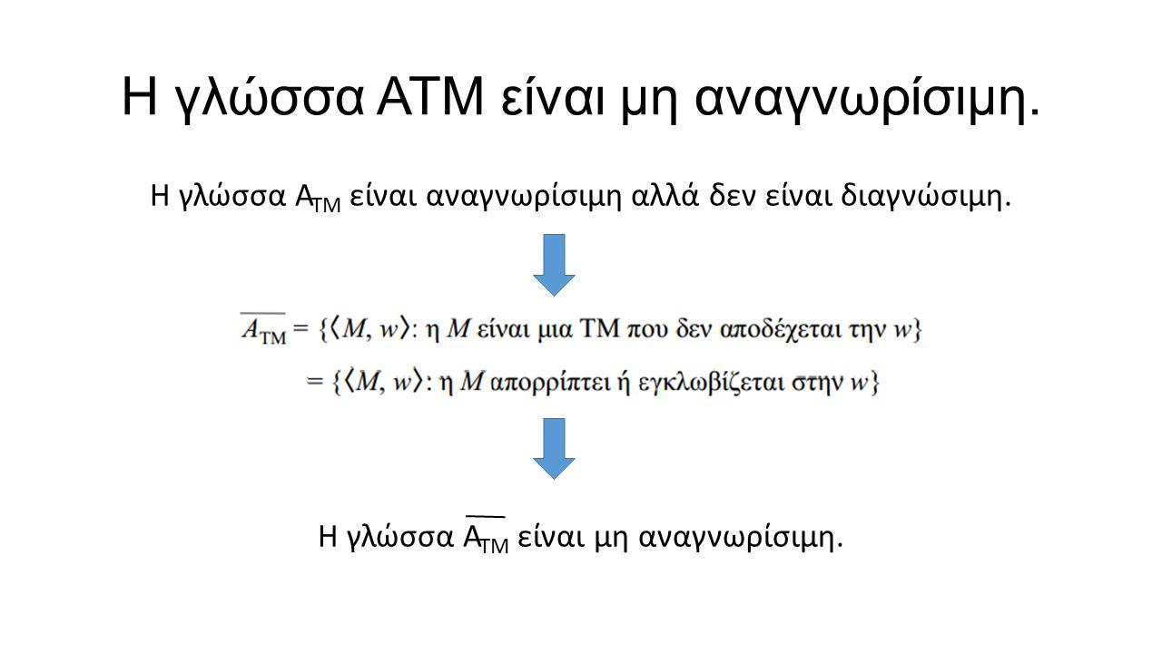 Η γλώσσα ΑΤΜ είναι μη αναγνωρίσιμη. Η γλώσσα Α ΤΜ είναι αναγνωρίσιμη αλλά δεν είναι διαγνώσιμη. Η γλώσσα Α ΤΜ είναι μη αναγνωρίσιμη.