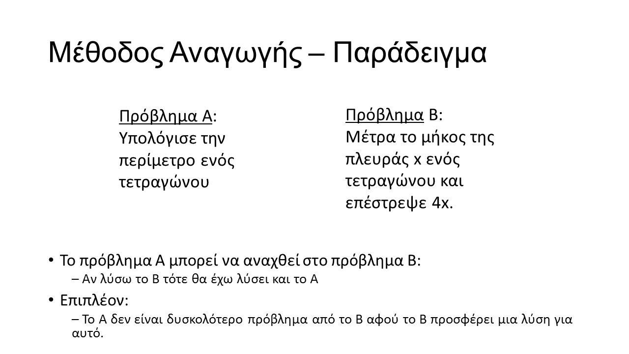 Μέθοδος Αναγωγής – Παράδειγμα Το πρόβλημα Α μπορεί να αναχθεί στο πρόβλημα Β: – Αν λύσω το Β τότε θα έχω λύσει και το Α Επιπλέον: – Το Α δεν είναι δυσ