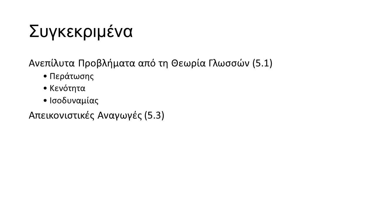 Συγκεκριμένα Ανεπίλυτα Προβλήματα από τη Θεωρία Γλωσσών (5.1) Περάτωσης Κενότητα Ισοδυναμίας Απεικονιστικές Αναγωγές (5.3)
