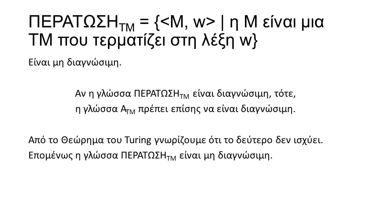 ΠΕΡΑΤΩΣΗ ΤΜ = { | η Μ είναι μια ΤΜ που τερματίζει στη λέξη w} Είναι μη διαγνώσιμη. Αν η γλώσσα ΠΕΡΑΤΩΣΗ ΤΜ είναι διαγνώσιμη, τότε, η γλώσσα Α ΤΜ πρέπε