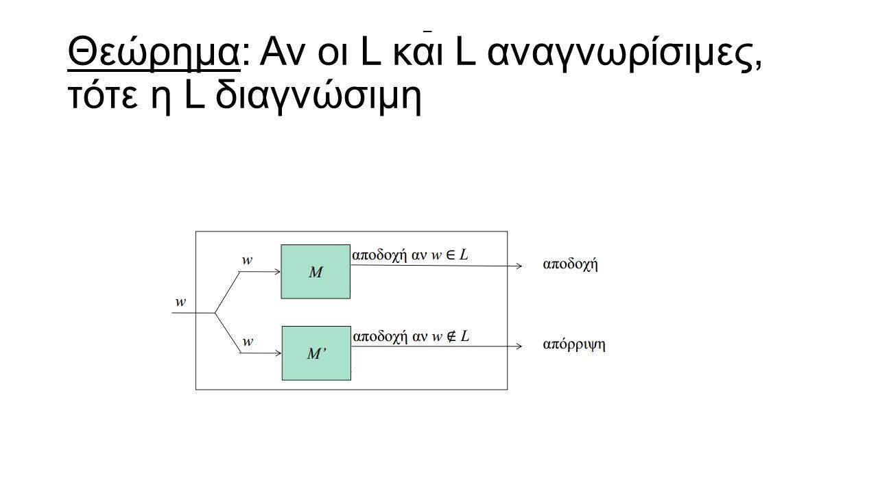 Θεώρημα: Αν οι L και L αναγνωρίσιμες, τότε η L διαγνώσιμη