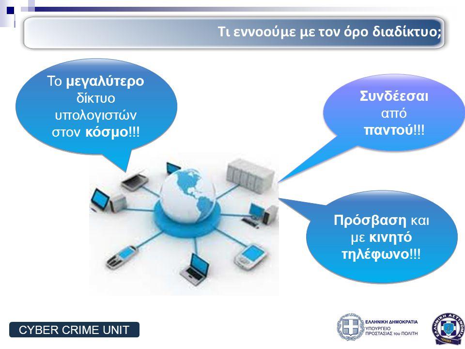Συνδέεσαι από παντού!!! Πρόσβαση και με κινητό τηλέφωνο!!! Το μεγαλύτερο δίκτυο υπολογιστών στον κόσμο!!! Τι εννοούμε με τον όρο διαδίκτυο; CYBER CRIM
