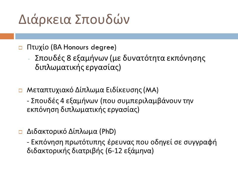 Διάρκεια Σπουδών  Πτυχίο ( ΒΑ Honours degree) - Σπουδές 8 εξαμήνων ( με δυνατότητα εκπόνησης διπλωματικής εργασίας )  M εταπτυχιακό Δίπλωμα Ειδίκευσης (MA) - Σπουδές 4 εξαμήνων ( που συμπεριλαμβάνουν την εκπόνηση διπλωματικής εργασίας )  Διδακτορικό Δίπλωμα (PhD) - Εκπόνηση πρωτότυπης έρευνας που οδηγεί σε συγγραφή διδακτορικής διατριβής (6-12 εξάμηνα )