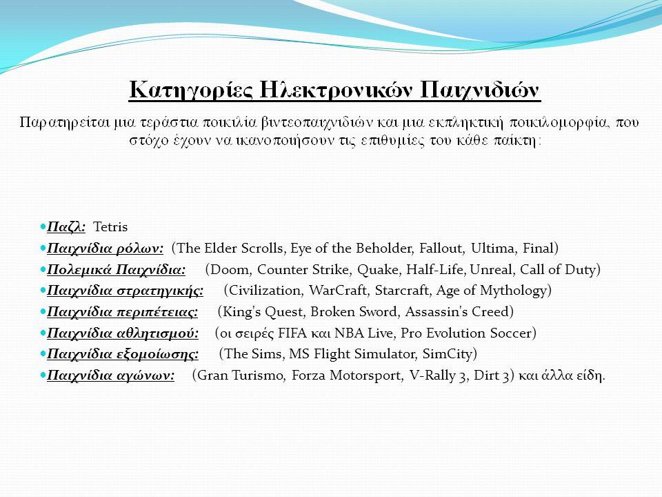 Παζλ: Tetris Παιχνίδια ρόλων: (The Elder Scrolls, Eye of the Beholder, Fallout, Ultima, Final) Πολεμικά Παιχνίδια: (Doom, Counter Strike, Quake, Half-Life, Unreal, Call of Duty) Παιχνίδια στρατηγικής: (Civilization, WarCraft, Starcraft, Age of Mythology) Παιχνίδια περιπέτειας: (King s Quest, Broken Sword, Assassin s Creed) Παιχνίδια αθλητισμού: (οι σειρές FIFA και NBA Live, Pro Evolution Soccer) Παιχνίδια εξομοίωσης: (The Sims, MS Flight Simulator, SimCity) Παιχνίδια αγώνων: (Gran Turismo, Forza Motorsport, V-Rally 3, Dirt 3) και άλλα είδη.