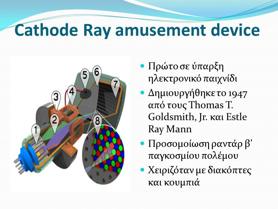 Cathode Ray amusement device Πρώτο σε ύπαρξη ηλεκτρονικό παιχνίδι Δημιουργήθηκε το 1947 από τους Thomas T.