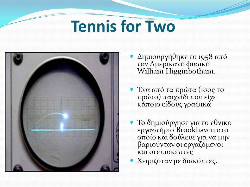 Tennis for Two Δημιουργήθηκε το 1958 από τον Αμερικανό φυσικό William Higginbotham.