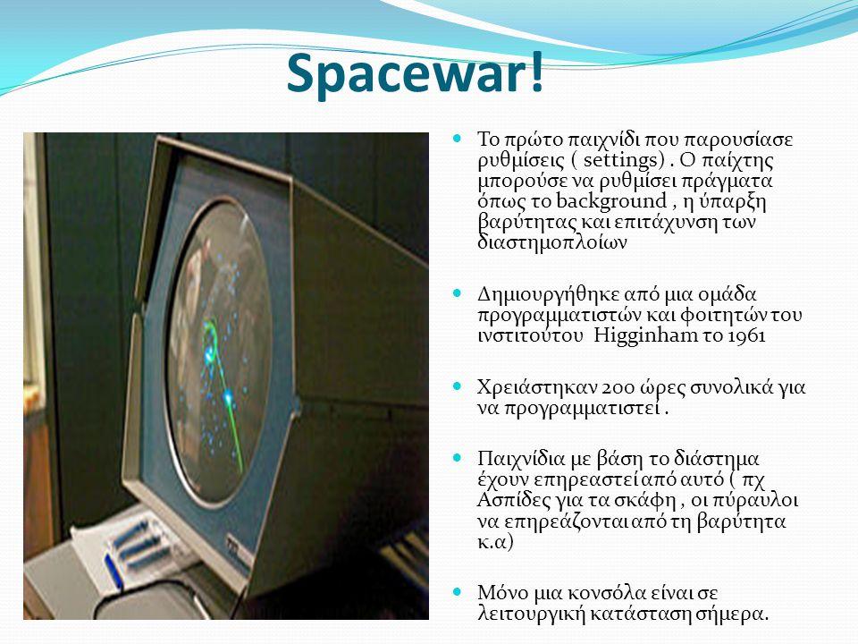 Spacewar. Το πρώτο παιχνίδι που παρουσίασε ρυθμίσεις ( settings).
