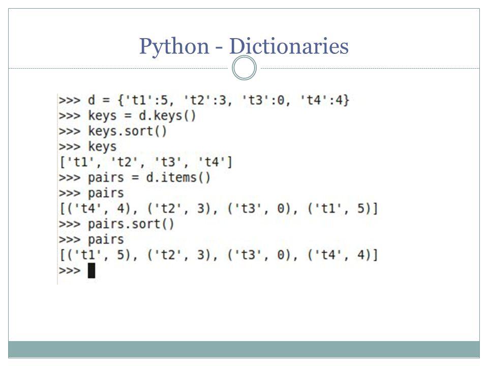Python - Dictionaries