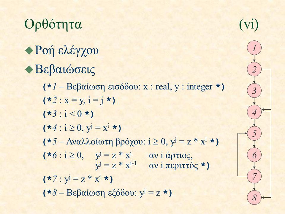 Ορθότητα(vi) u Ροή ελέγχου 1 2 3 4 5 6 7 8 u Βεβαιώσεις (* 1 – Βεβαίωση εισόδου: x : real, y : integer *) (* 2 : x = y, i = j *) (* 3 : i < 0 *) (* 4