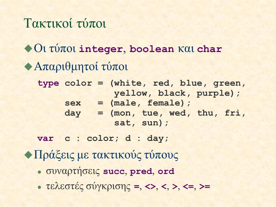 Τακτικοί τύποι  Οι τύποι integer, boolean και char u Απαριθμητοί τύποι type color = (white, red, blue, green, yellow, black, purple); sex = (male, fe